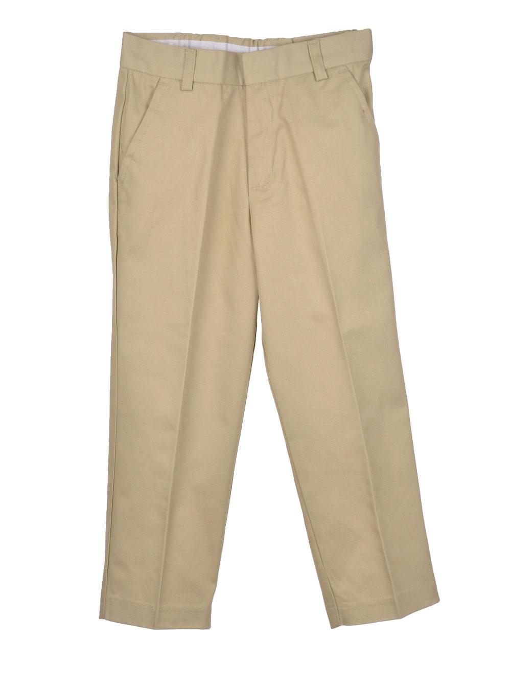 Image of Preferred School Uniforms Big Boys Double Knee Flat Front Pants Sizes 8  20  khaki 10