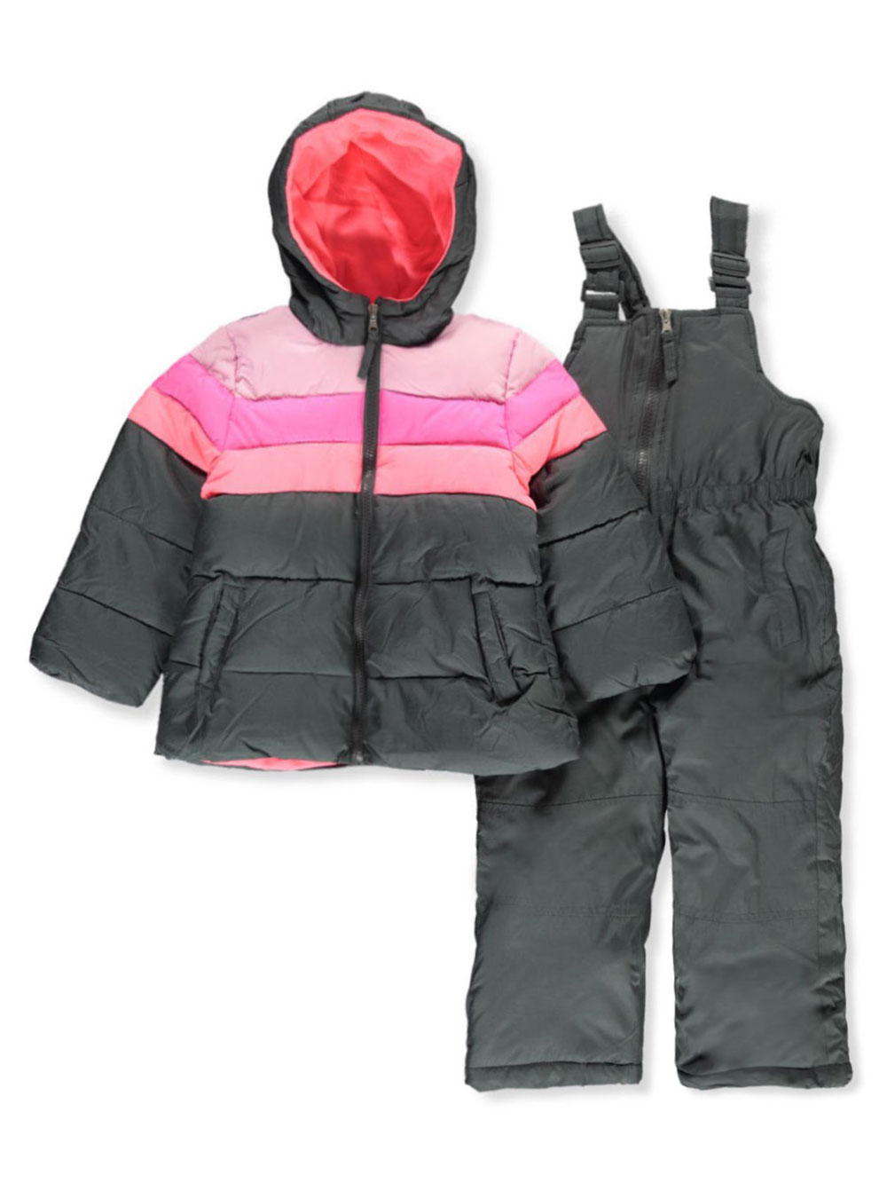 Pink and Navy Snowsuits