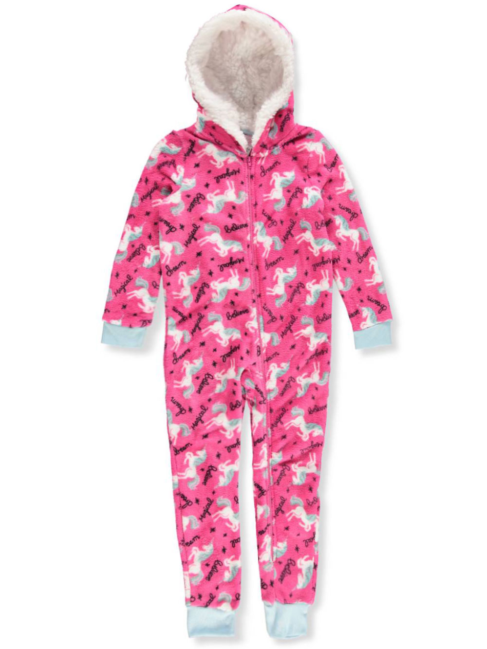 Girls' 1-Piece Hooded Pajamas
