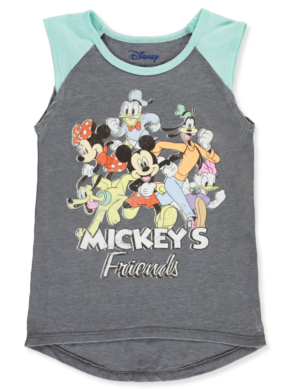 Girls Heather Gray and Multicolor T-Shirts