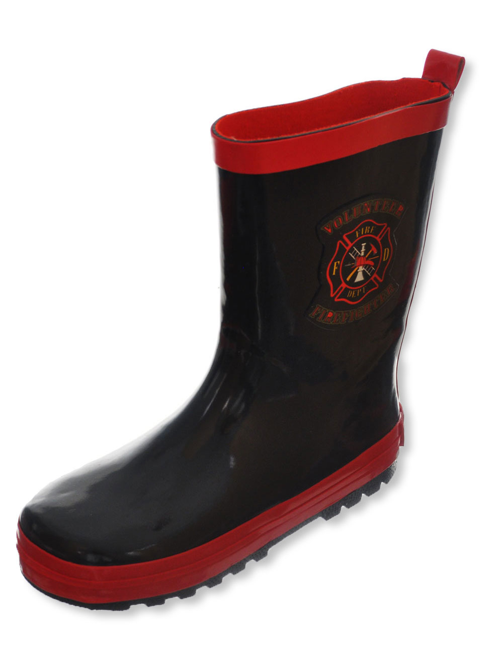 Boys Black and Red Rainboots
