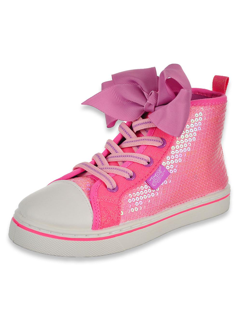 Girls' Trimmed Sequin Hi-Top Sneakers