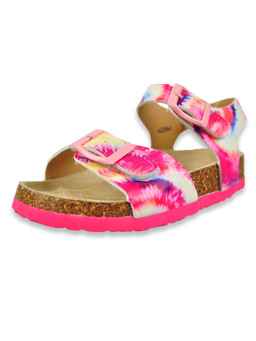 Girls White and Multicolor Sandals