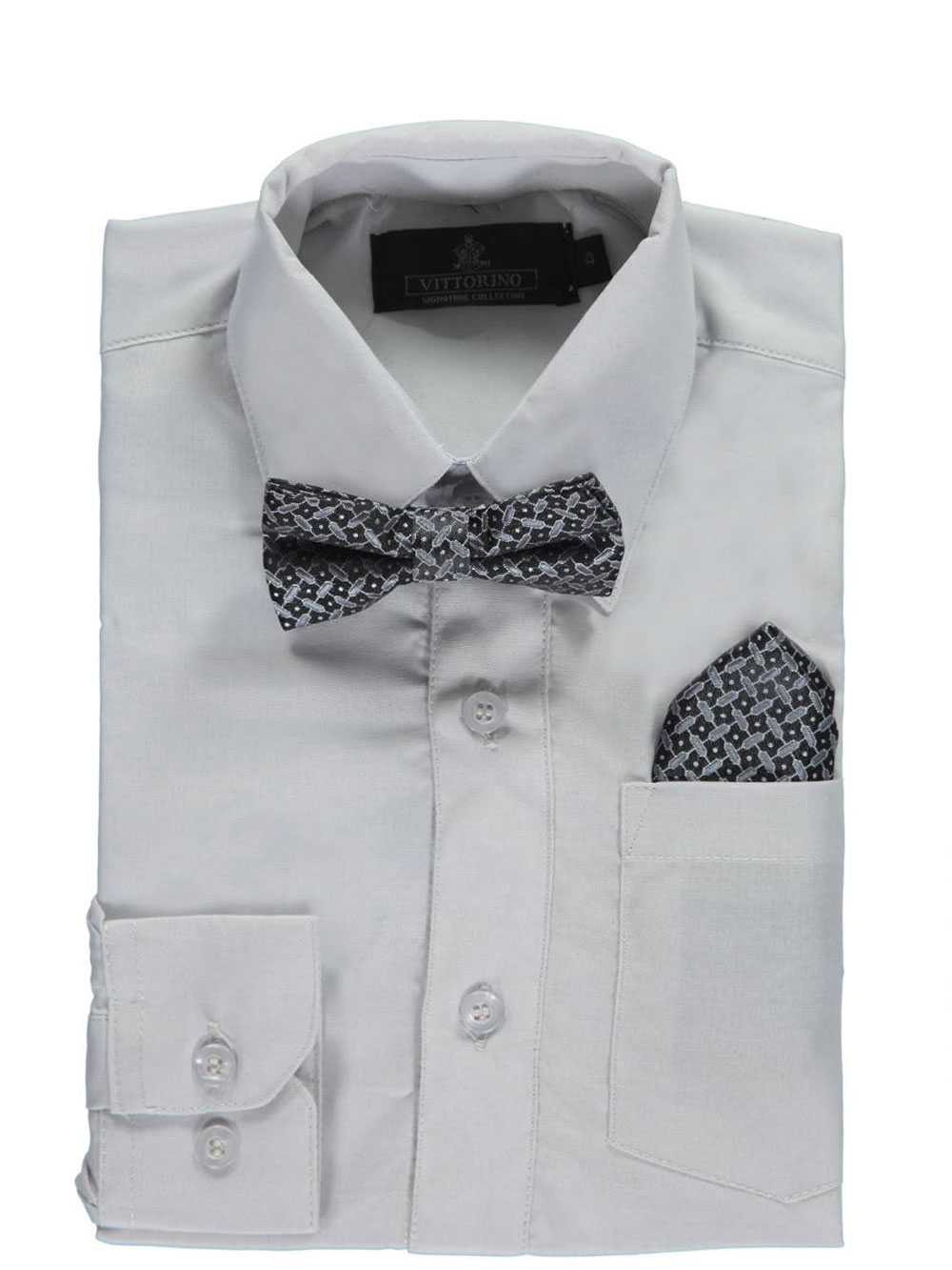 Vittorino Little Boys' Dress Shirt with Accessories (Sizes 4 - 7) - light gray, 4