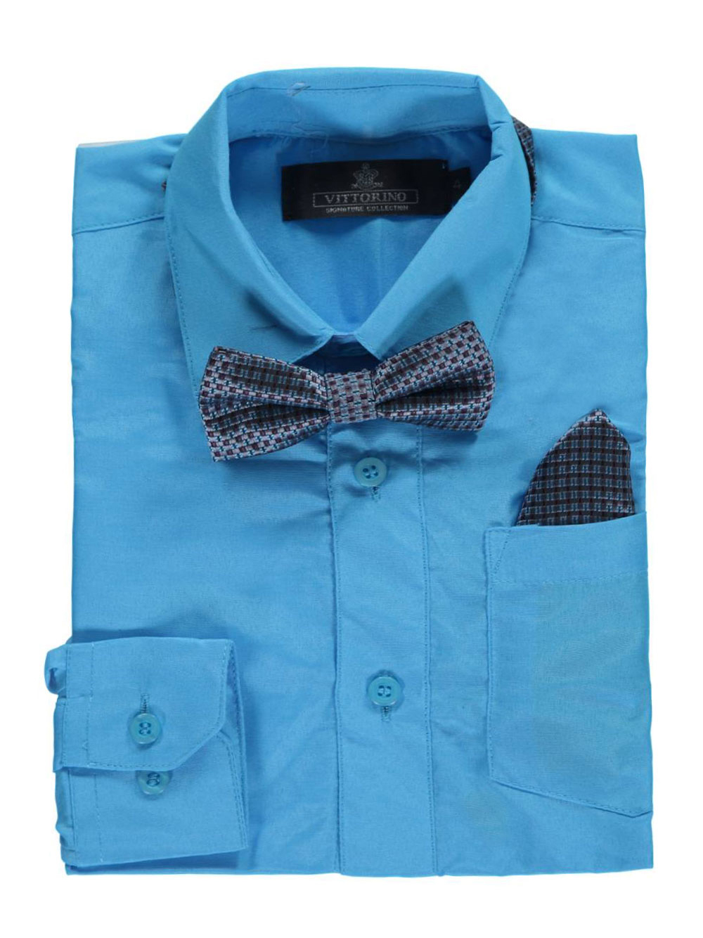 Vittorino Little Boys' Dress Shirt with Accessories (Sizes 4 - 7) - turquoise, 6