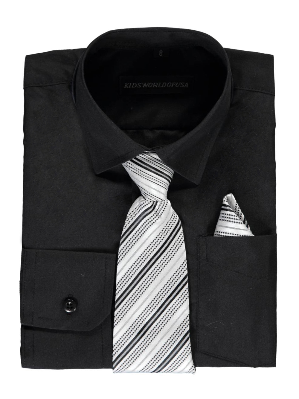 Kids World Big Boys' Dress Shirt with Accessories (Sizes 8 - 20) - black, 14