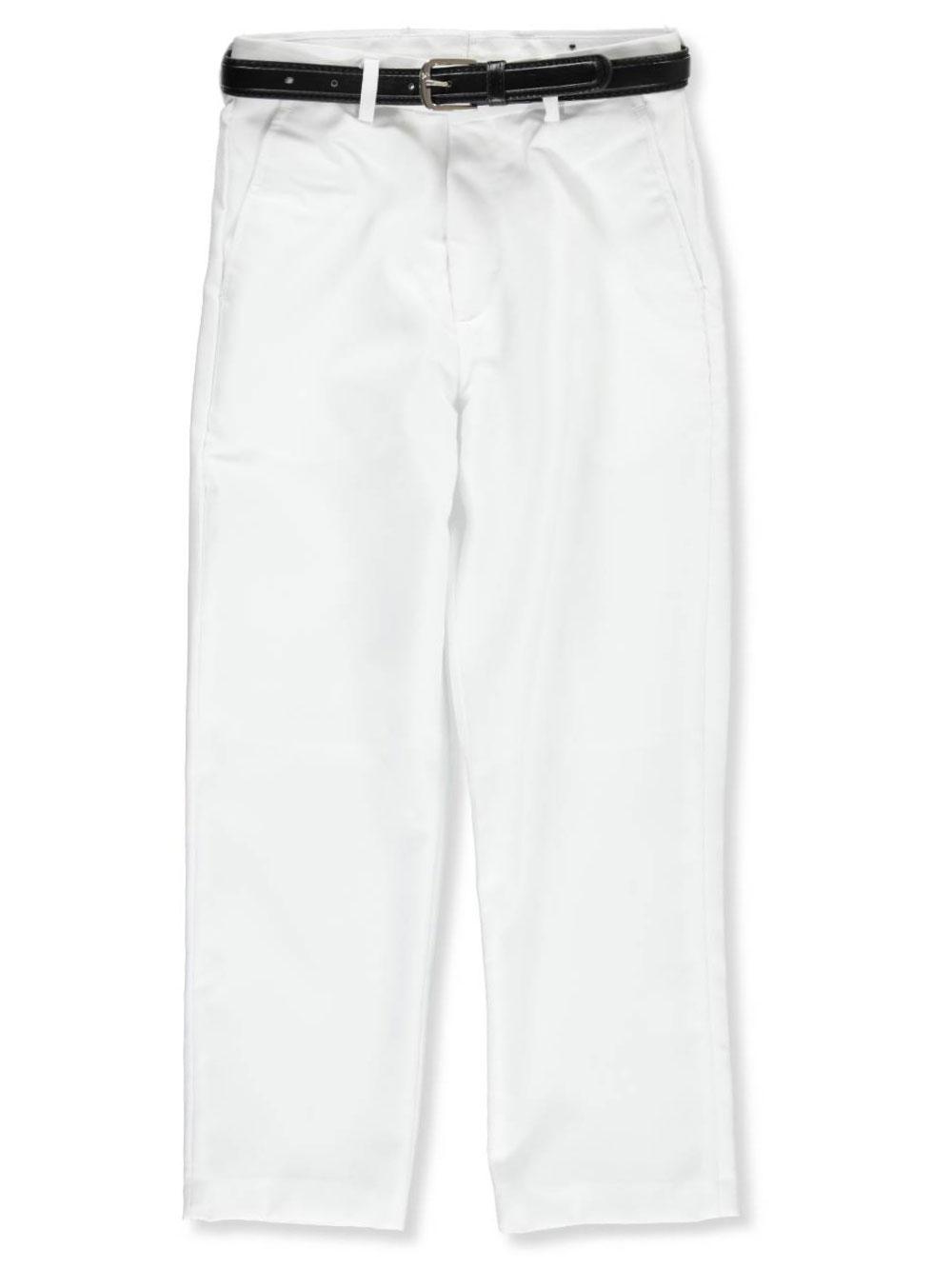 Kidz World Vittorino Big Boys Husky Flat Front Slim Fit Dress Pants