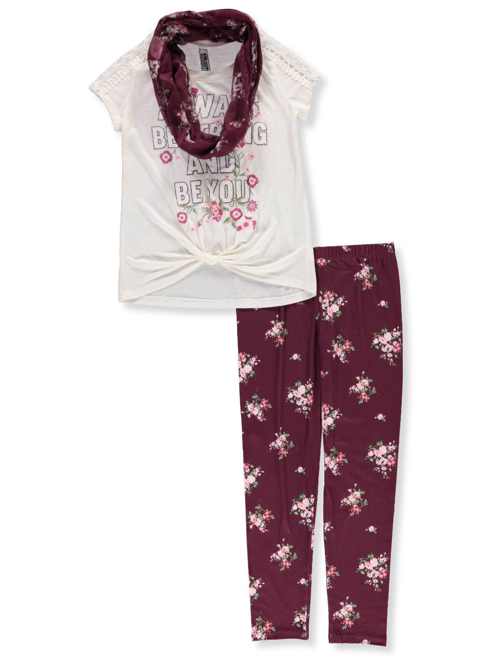 448819b706bc3 Beautees Girls' 2-Piece Pants Set Outfit with Scarf