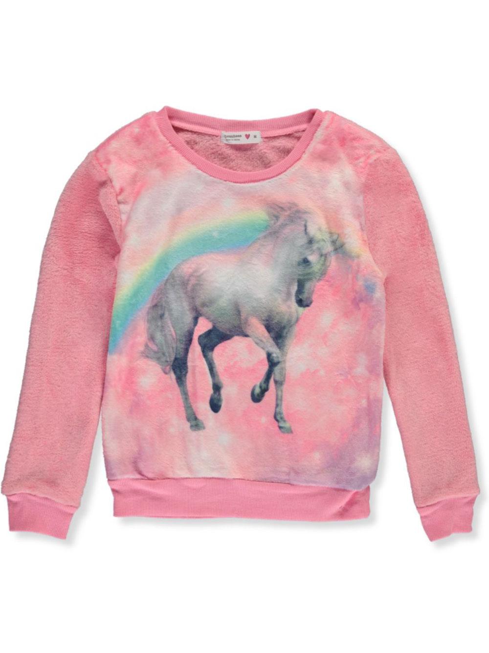 Beautees Girls Studded Unicorn L//S Top