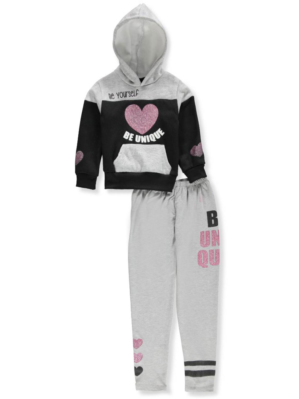 b18aed97e6 Girls' 2-Piece Sweatsuit Pants Set by Pink Velvet in Black