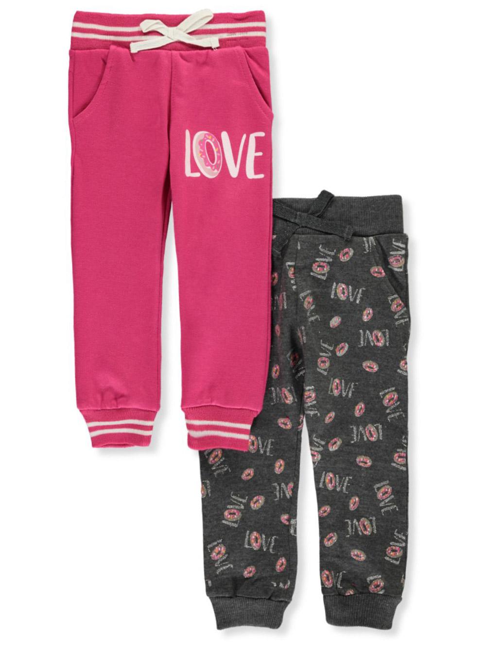 2 Pack Real Love Girls Fleece Active Jogger Pants