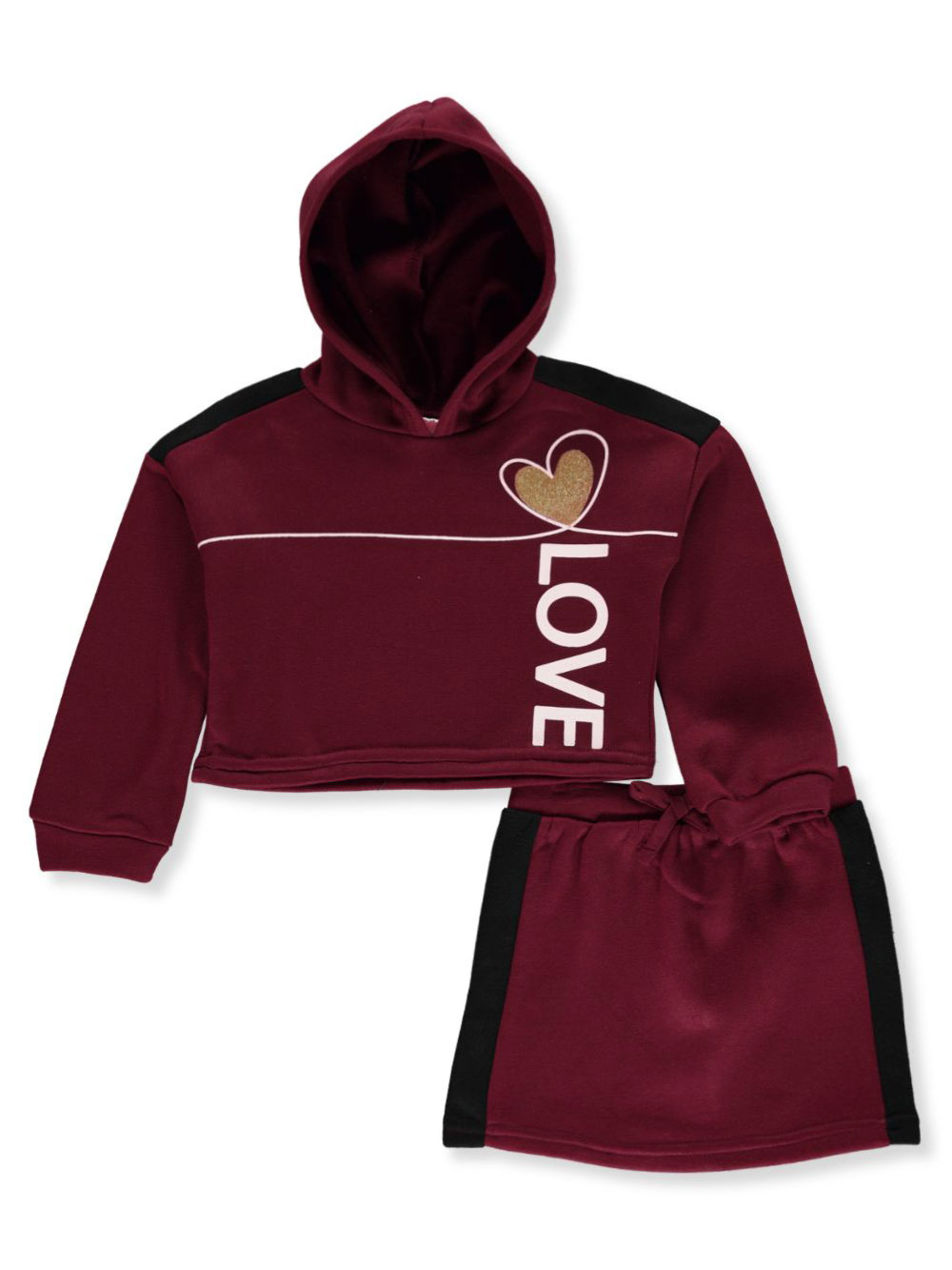 Girls Burgundy Skirt Sets