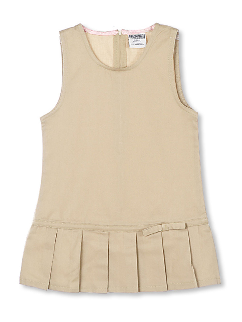 Image of Genuine Little Girls Toddler Low Pleat Twill Jumper Sizes 2T  4T  khaki 3t