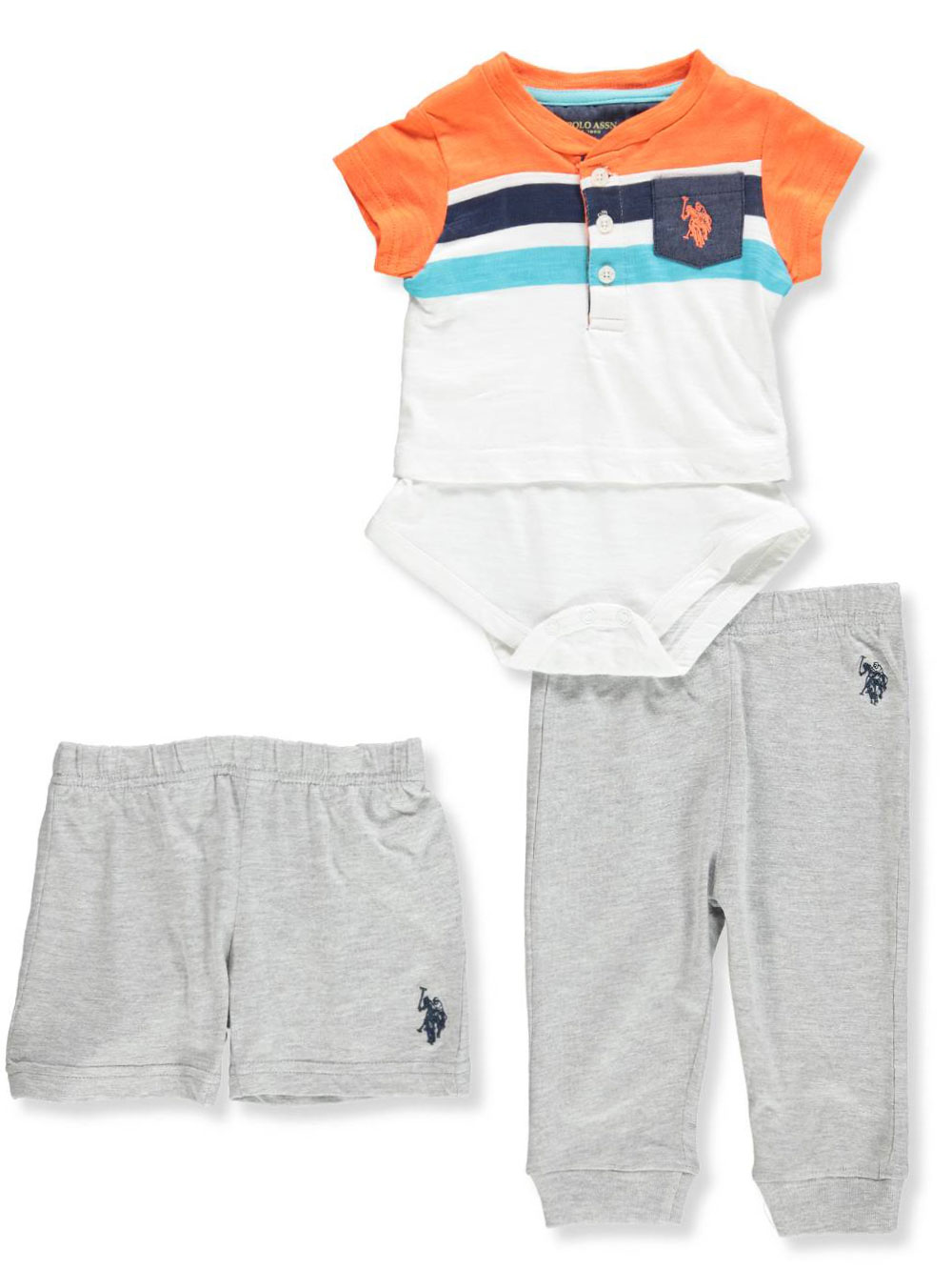 fb02e557f Baby Boys  3-Piece Layette Set by U.S. Polo Assn. in Mango from Cookie s  Kids