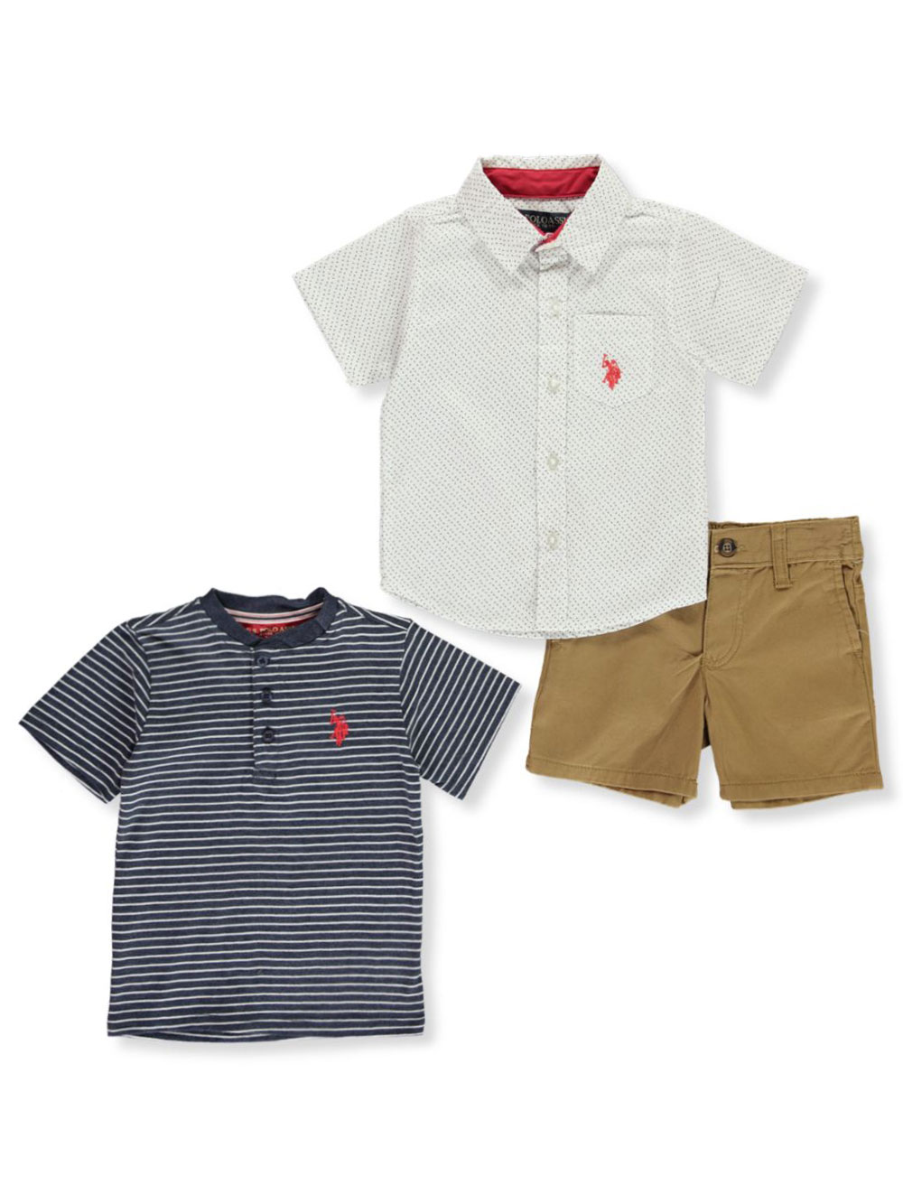 T-Shirt Boys 3 Piece Long Sleeve Woven U.S and Twill Jogger Pant Polo Assn