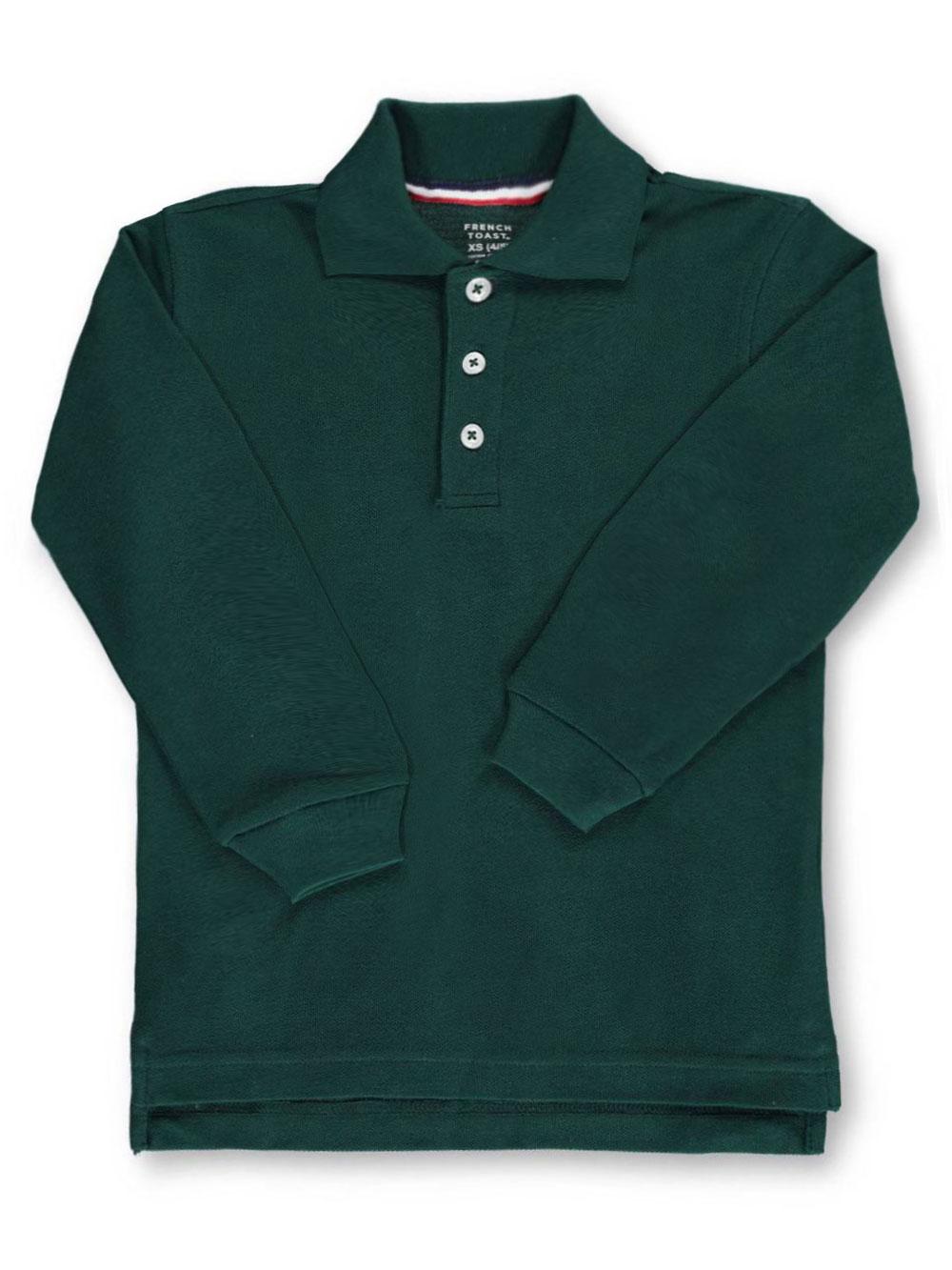 French Toast School Uniform Unisex L/S Pique Polo (Sizes 4 - 7) - green, 7