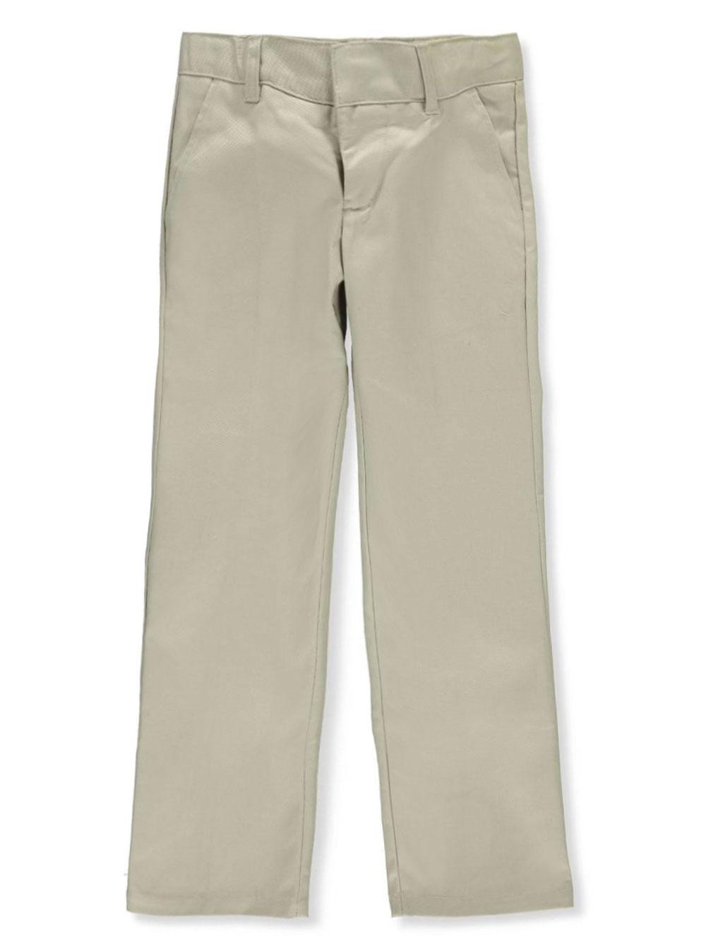 French Toast School Uniform Big Boys' Flat Front Wrinkle No More Double Knee Pants (Sizes 8 - 20) - khaki, 8