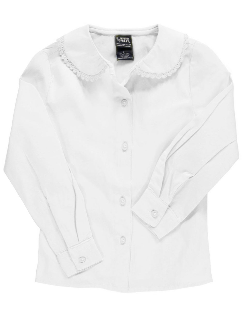 Image of French Toast School Uniform Big Girls LS Blouse with Lace Edging Sizes 7  16  white 7