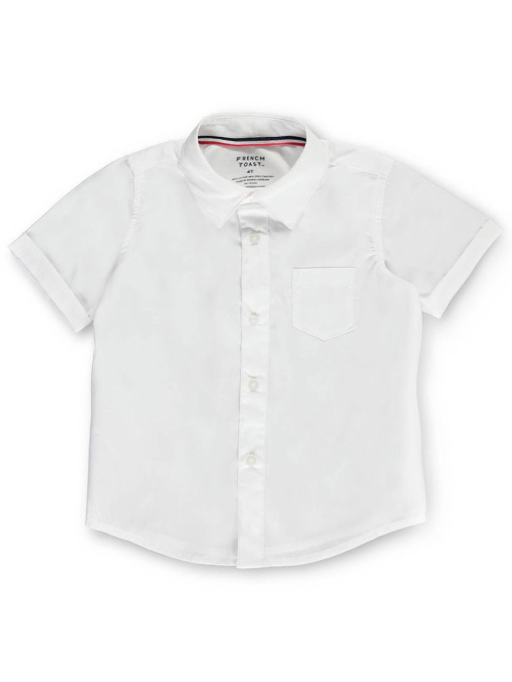 French Toast School Uniform Little Boys' Toddler S/S Button-Down Shirt (Sizes 2T - 4T) - white, 4t