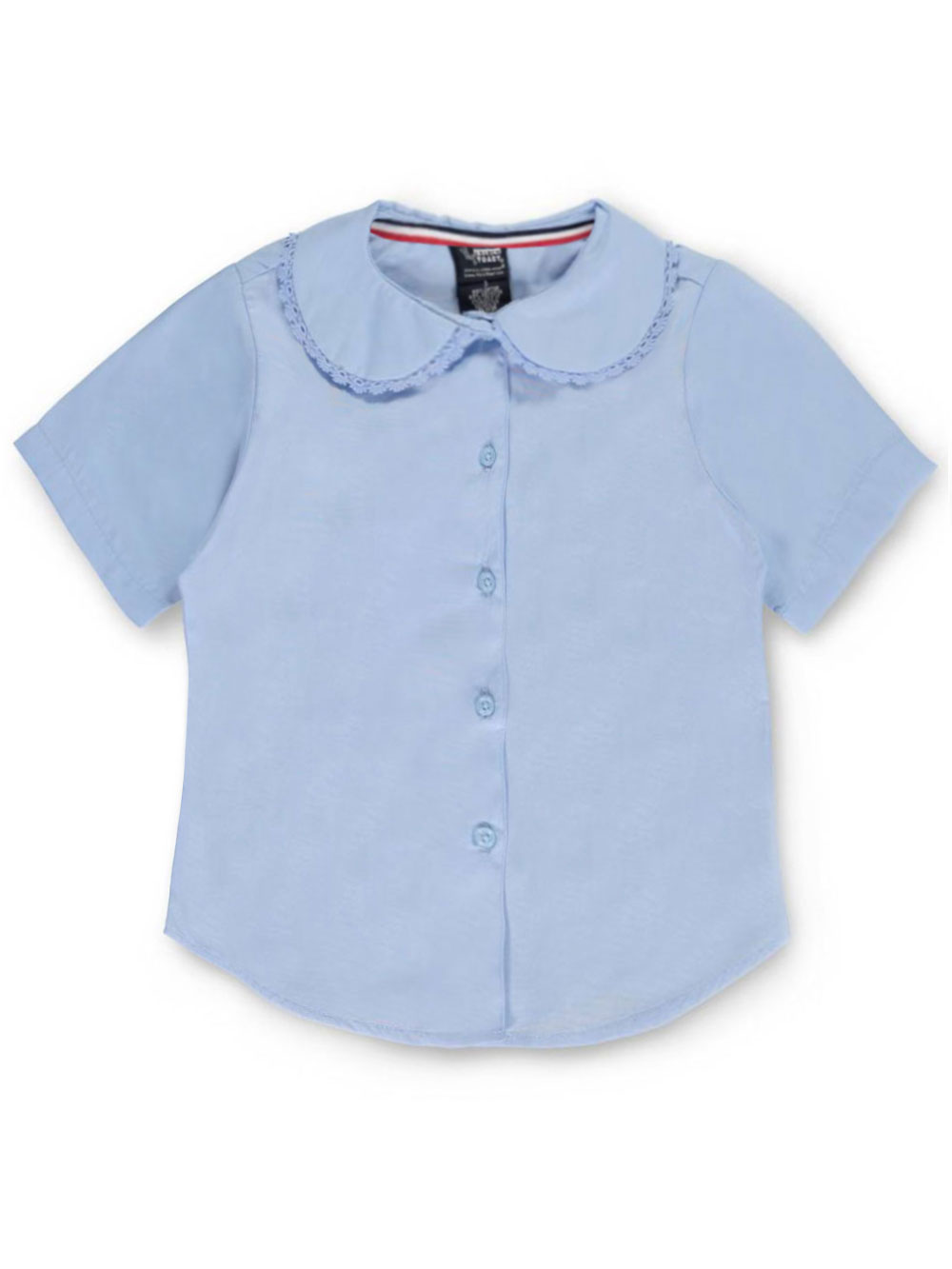 French Toast School Uniform Big Girls' S/S Peter Pan Lace Trim Blouse (Sizes 7 - 16) - blue, 18