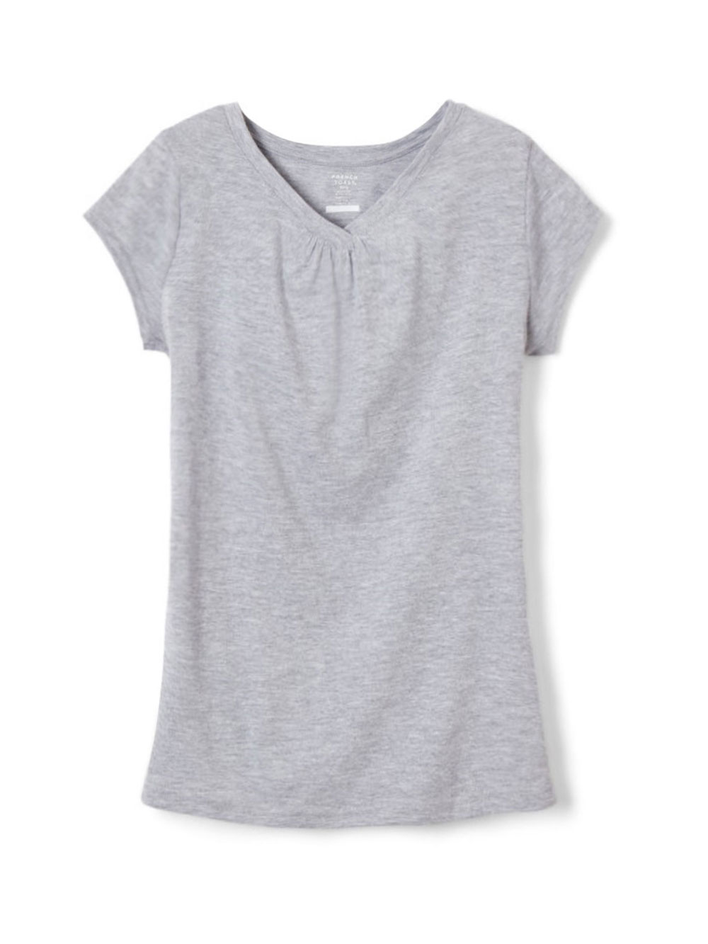 Image of French Toast Big Girls Ruched VNeck TShirt Sizes 7  16  heather gray 10  12