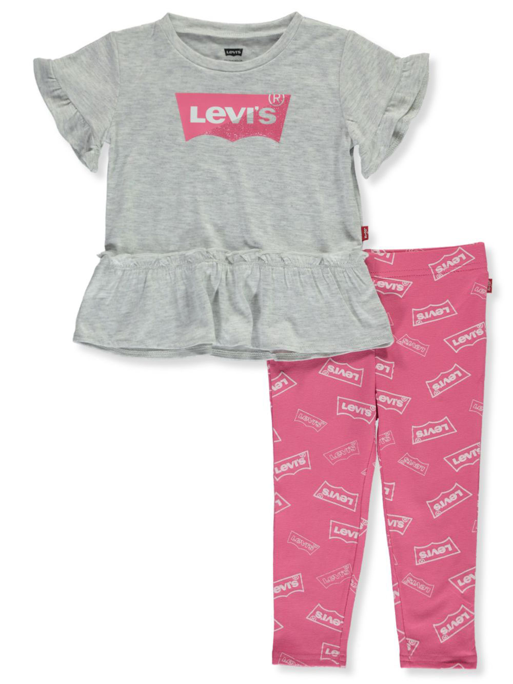 Girls Gray/pink Pant Sets