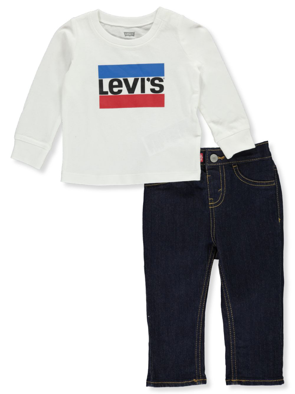 Boys White and Multicolor Pant Sets