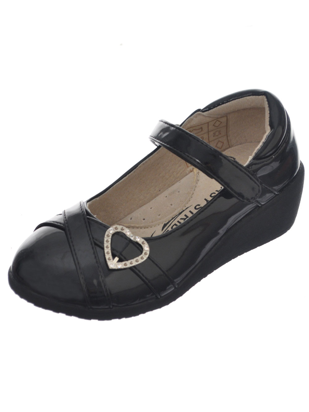 Image of Easy Strider Girls PatentStrapped Heart Mary Janes Youth Sizes 13  4  black 1 youth