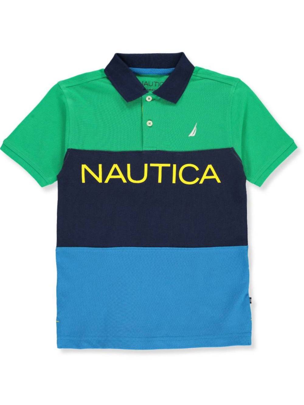659920713b Boys' Blocked Logo Pique Polo by Nautica in Bright green