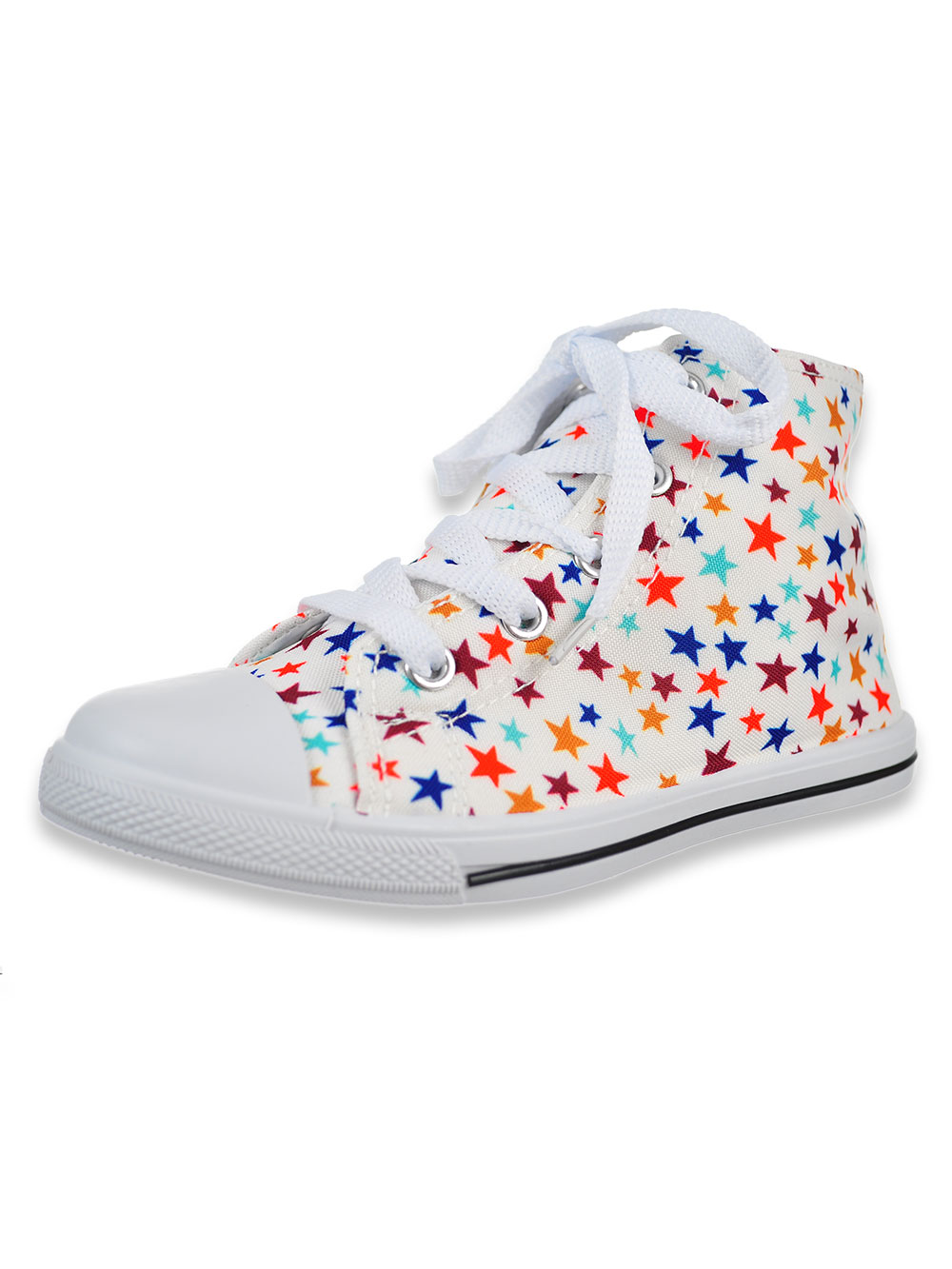 Girls White and Multicolor Sneakers