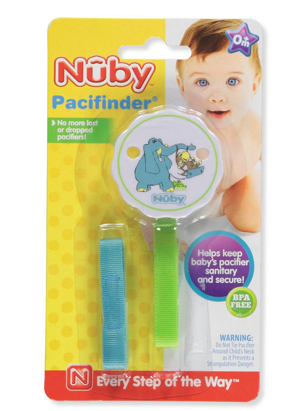 """Nuby Pacifinder /""""Ribbon Cub/"""" Pacifier Clip"""