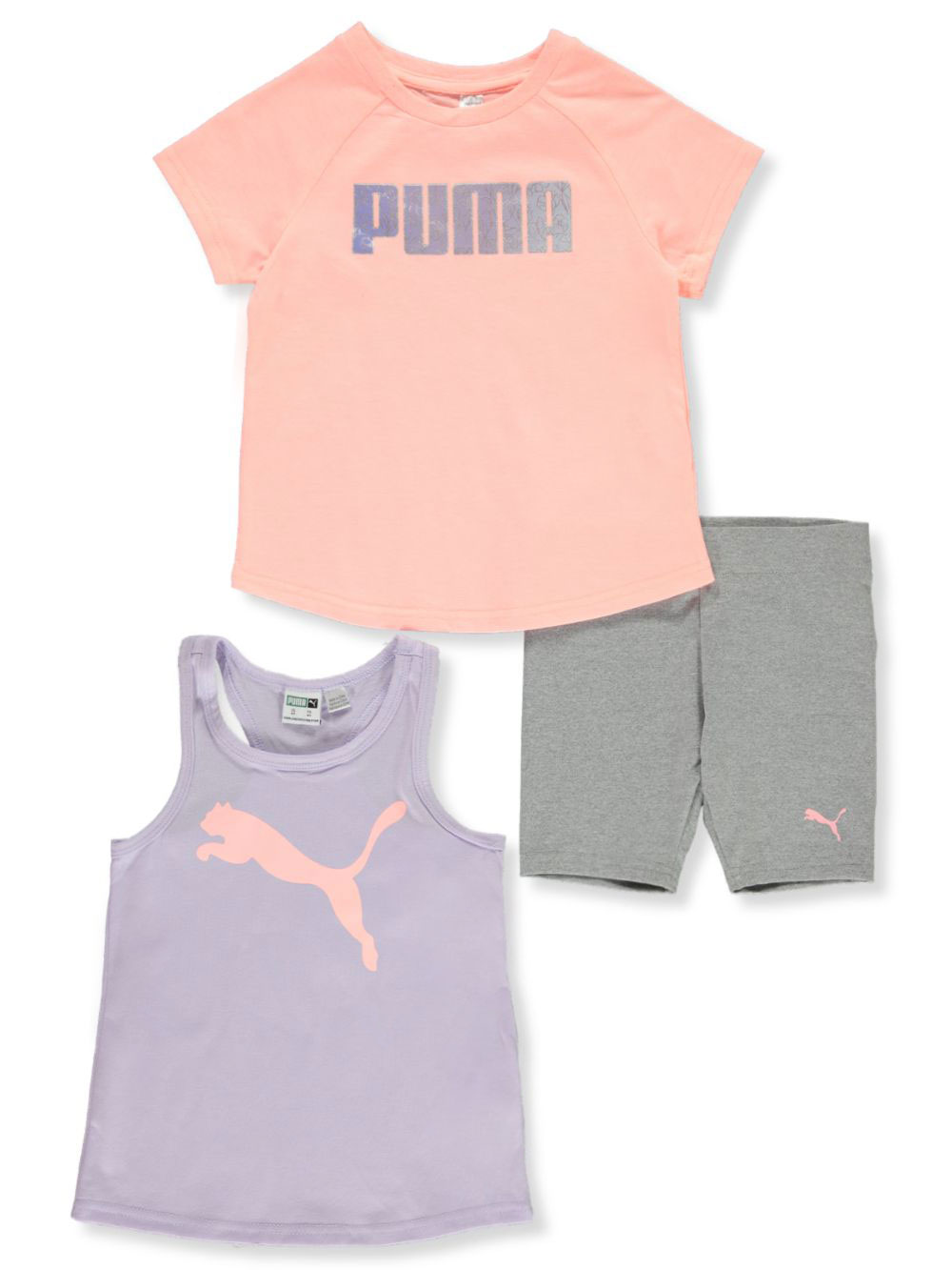 Girls' 3-Piece Bike Shorts Set Outfit