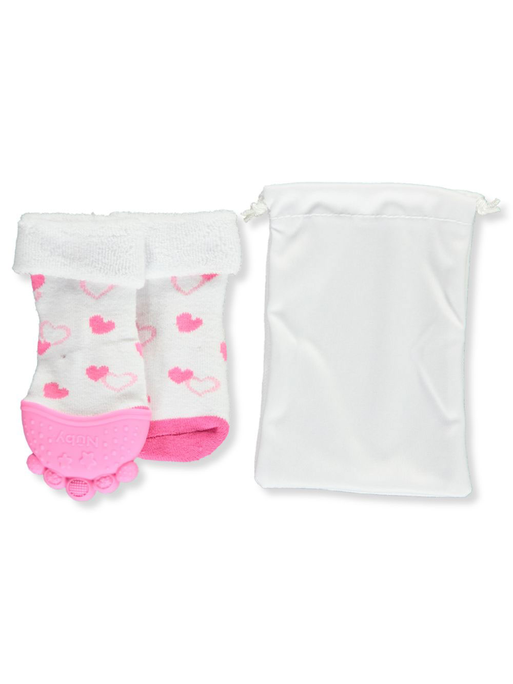 Light Pink and White 2-Pack Satin Ruffle Baby Socks 12-24 months