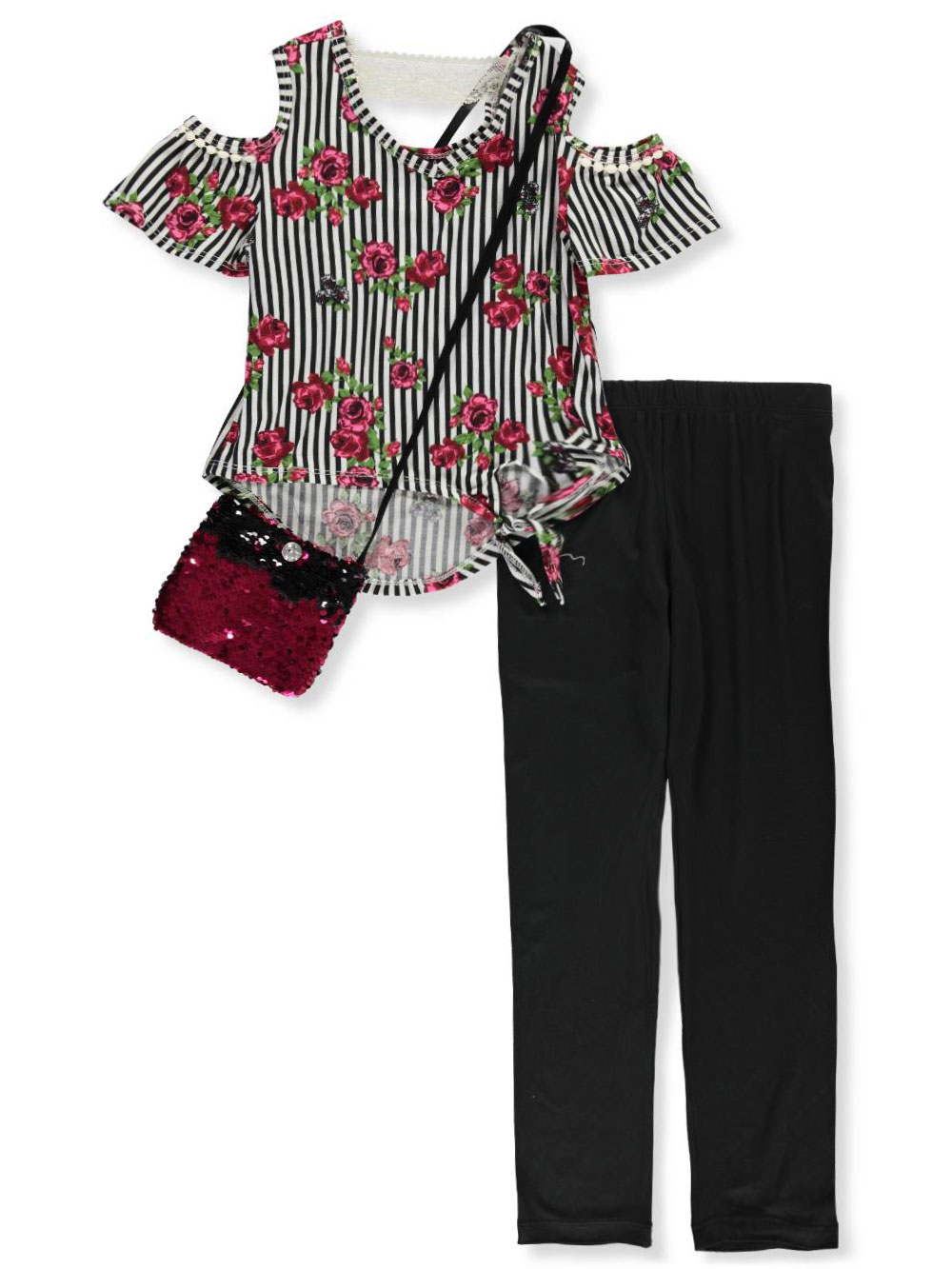 Girls Burgundy Multicolor Pant Sets