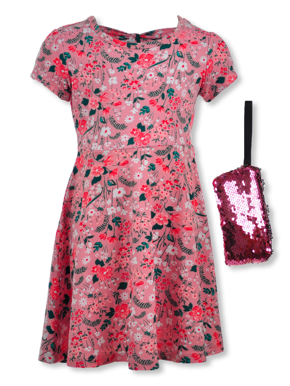 Girls' Floral Dress with Sequin Purse