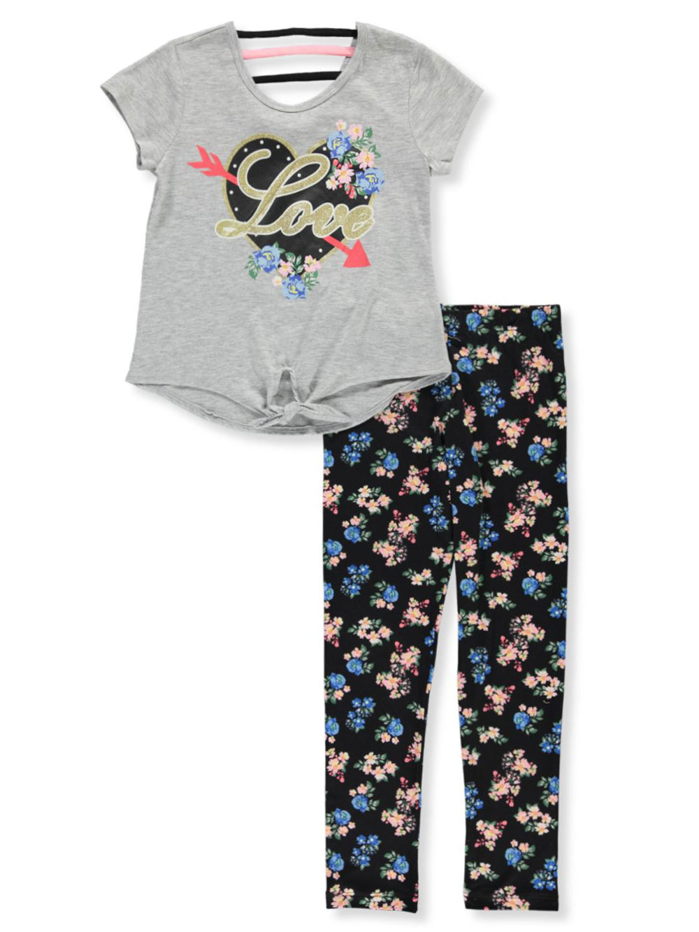 Girls Heather Gray Pant Sets