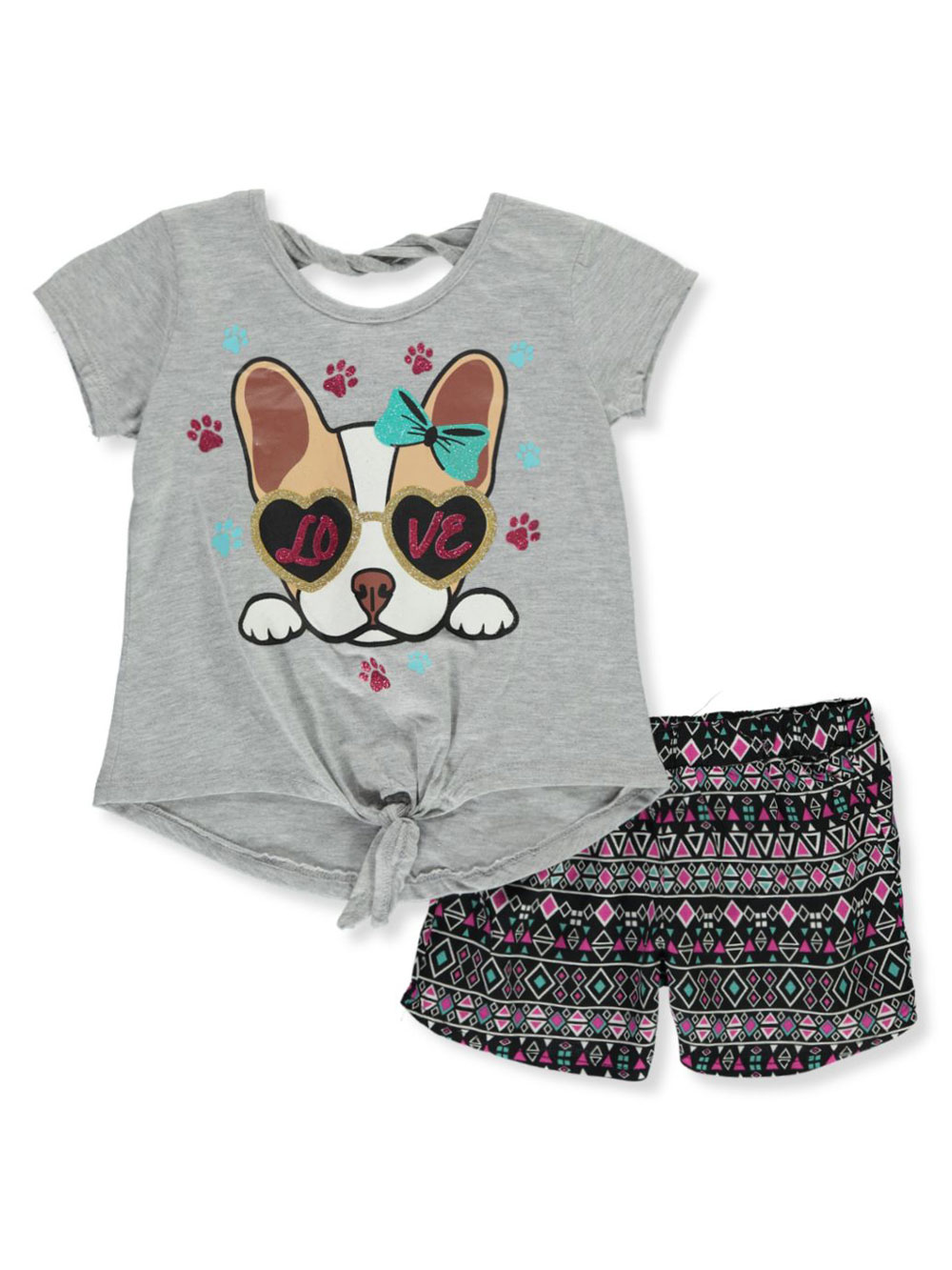 Girls Gray Short Sets