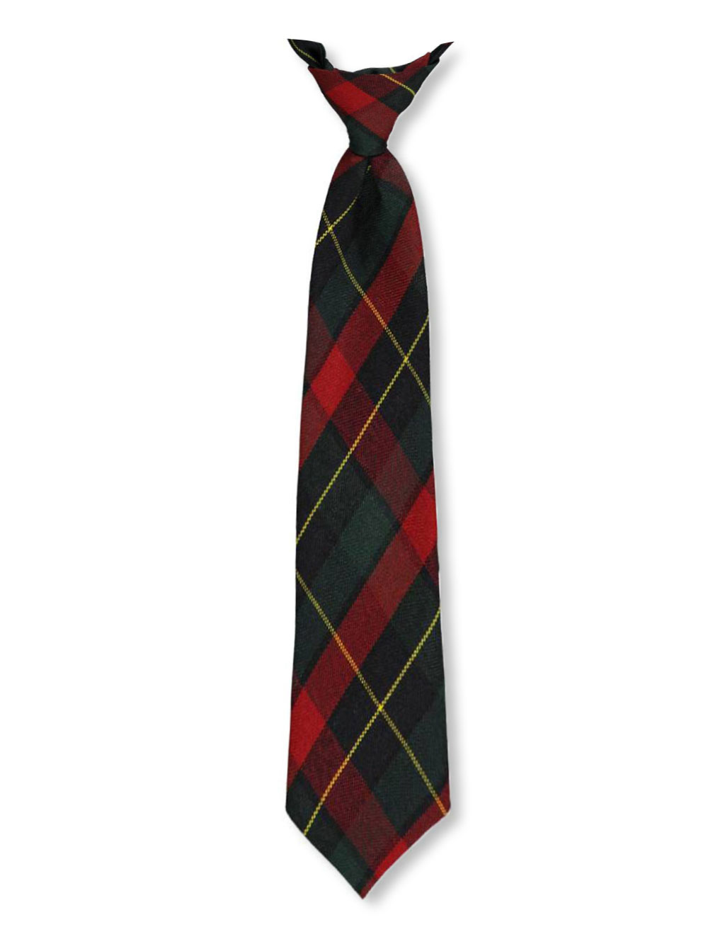Image of Cookies Brand Adjustable Banded Necktie with Clip  greenredgold plaid 66 14