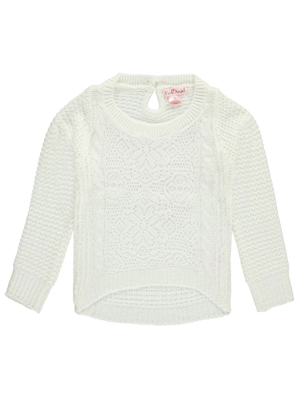 Image of Pink Angel Little Girls Lace Point Sweater Sizes 4  6X  ivory 5  6
