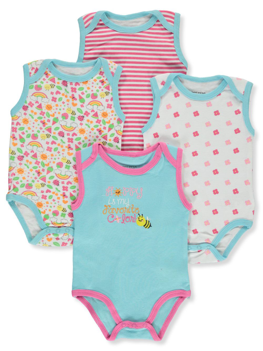 Baby Girls' 4-Pack Bodysuits