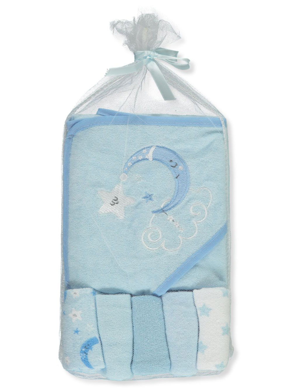 Hooded Towel and 5-Pack Washcloths Set