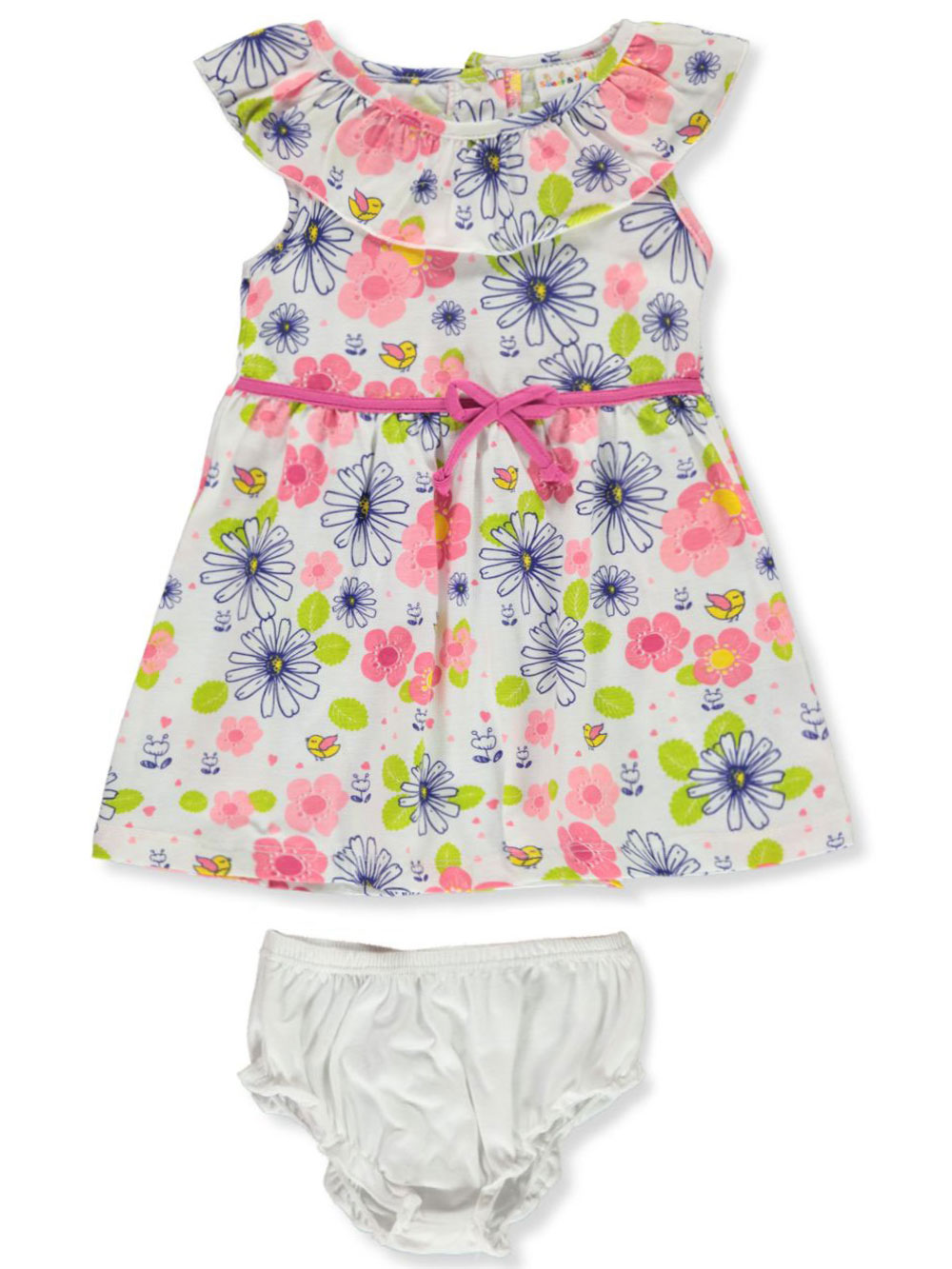 Girls White and Multicolor Newborn Dresses