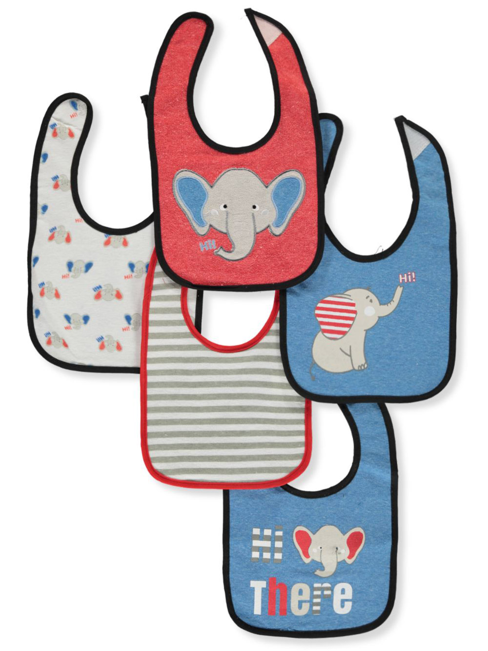 Blue and Multicolor Bibs