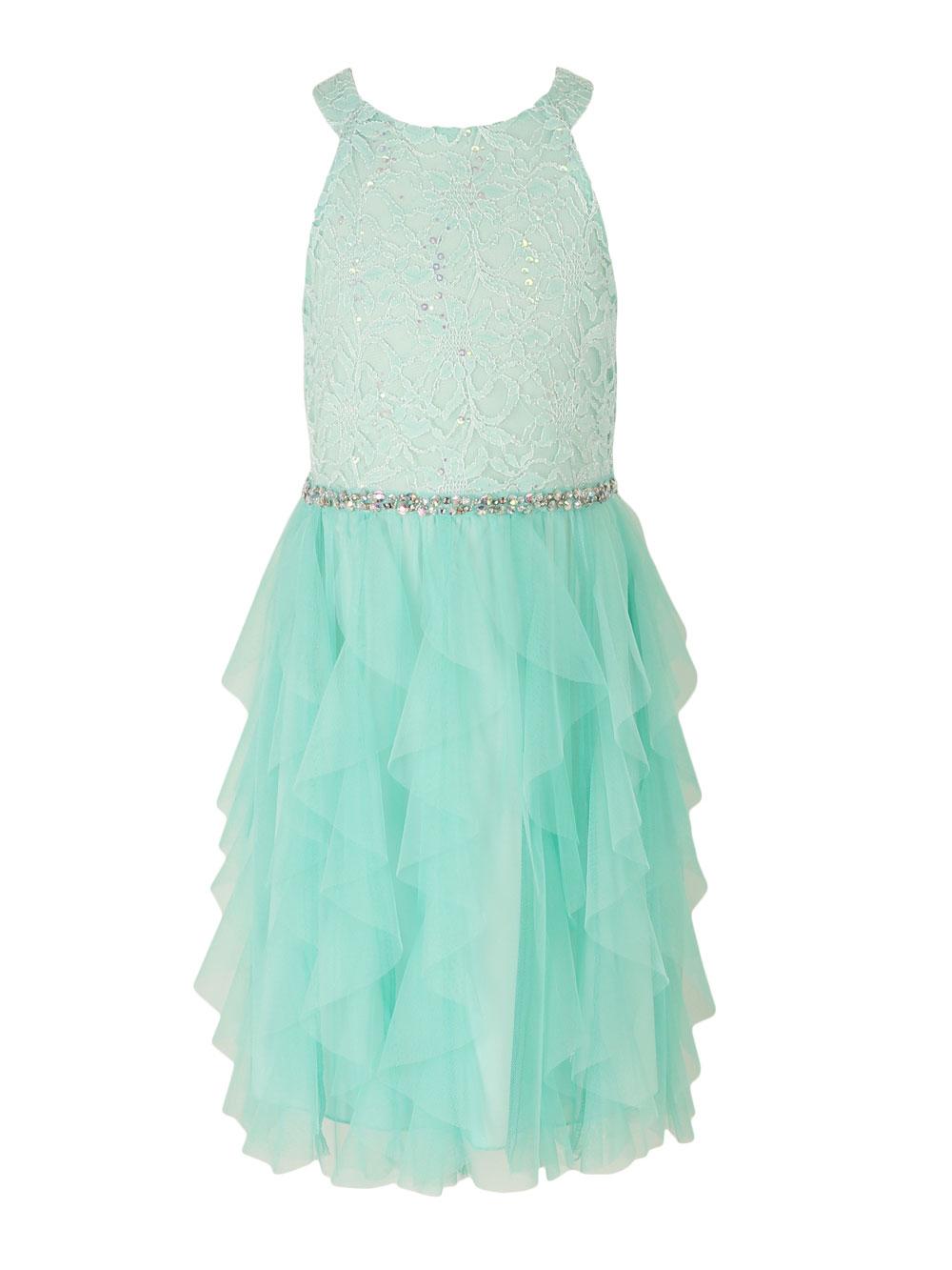 Mint Ruffle Yoke Dress