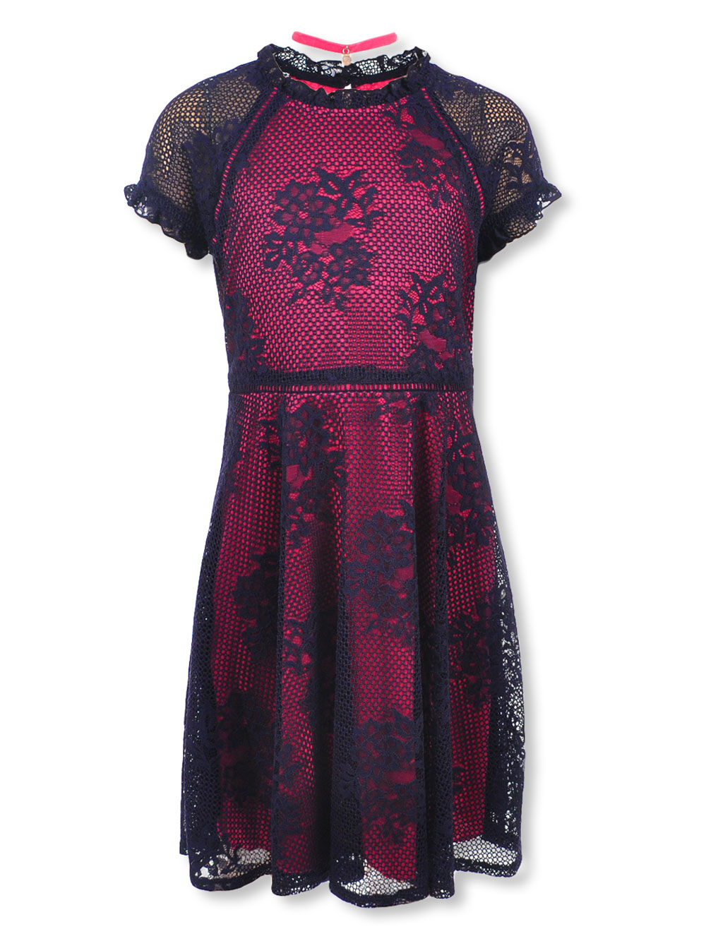 Girls\' Plus Size Dress with Choker by Speechless in Navy/fuchsia