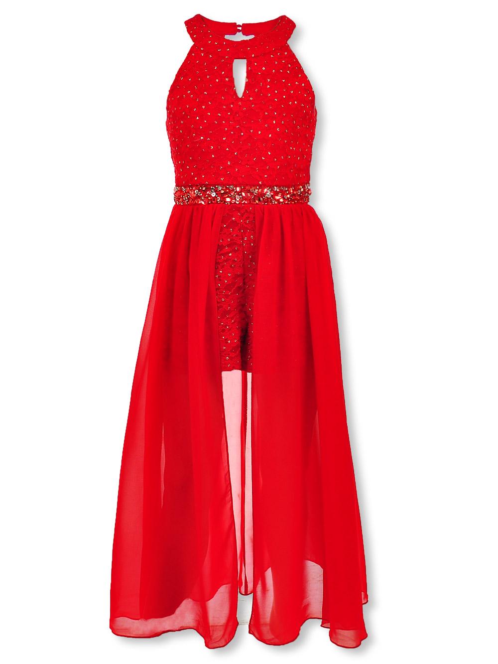 Speechless Girls' Bejeweled Waist Walk-Thru Dress