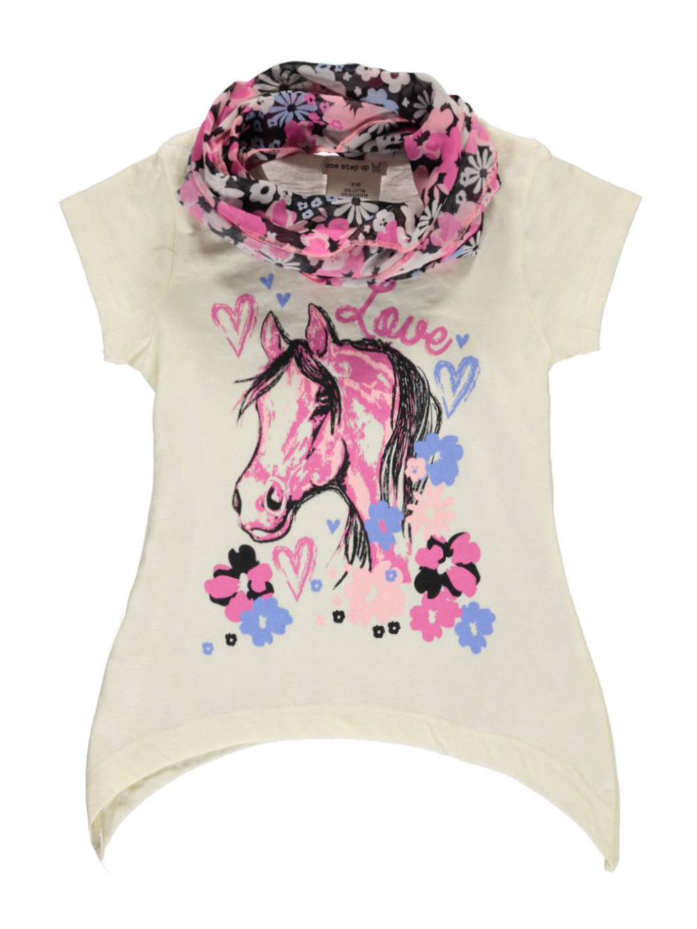 Image of One Step Up Little Girls Love to Ride Top with Scarf Sizes 4  6X