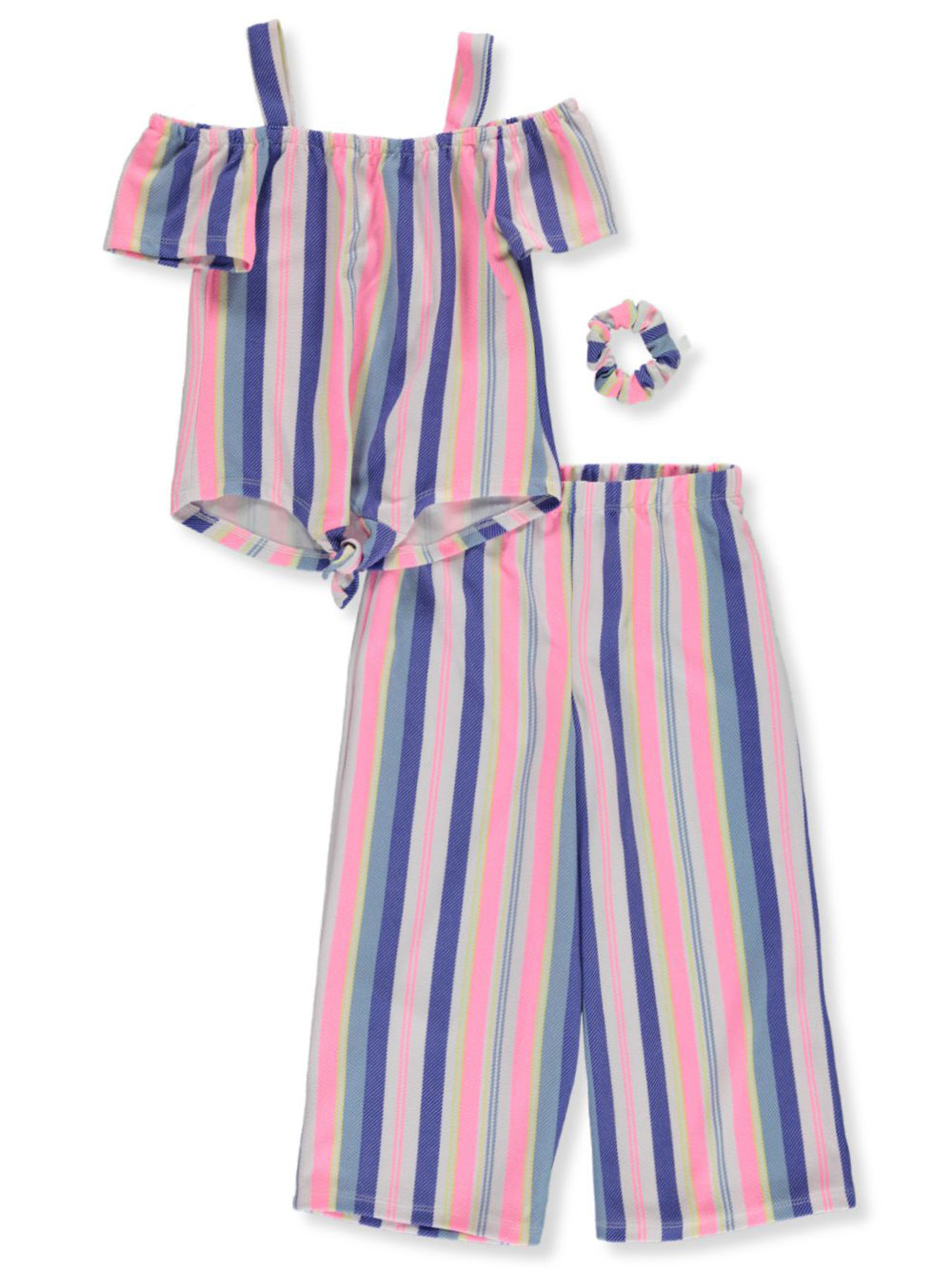 Girls White and Multicolor Pant Sets
