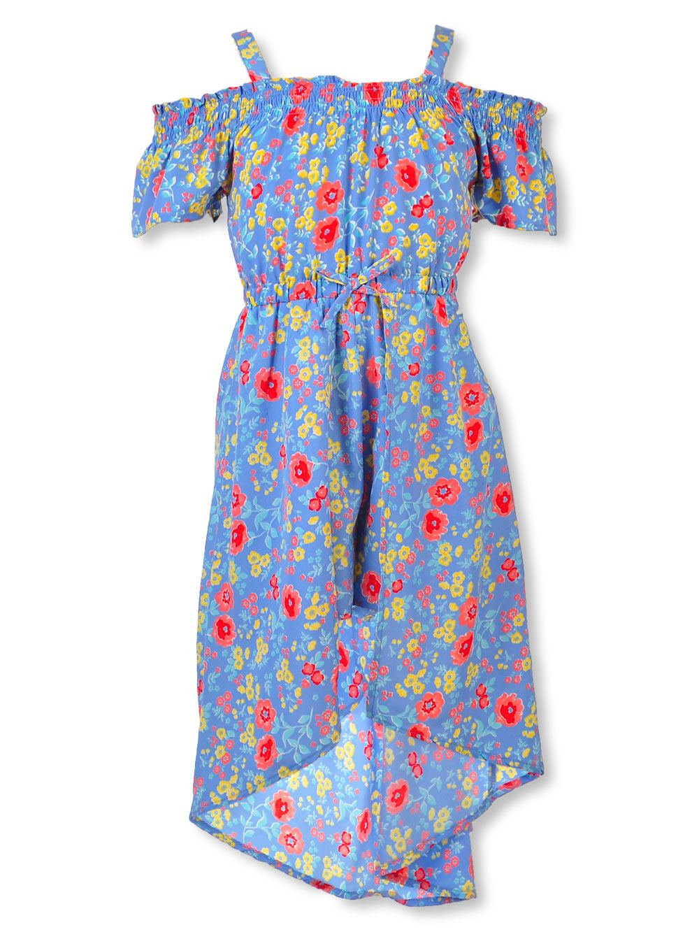 57653ed976a796 Girls' Cold Shoulder Walk-Thru Dress by Star Ride in blue/multi and peach  multi from Cookie's Kids