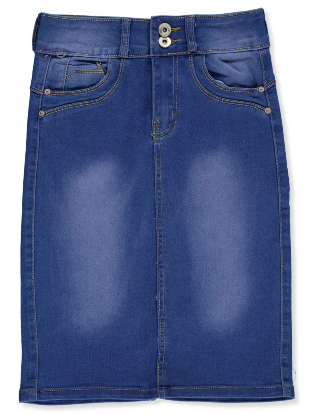 Seamed Stitch Denim Pencil Skirt